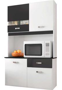 Cozinha Compacta 4 Portas E 1 Gaveta Lili - Poquema - Branco / Preto