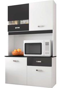 Cozinha Compacta Lili - 4 Portas E 1 Gaveta - Branco / Preto