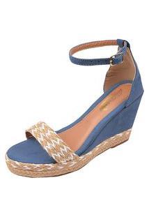Sandália Uzze Sapatos Anabela Confort Faixa Azul