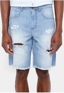 Bermuda Jeans Sommer Stone Rasgos Desfiado Barra Masculina - Masculino