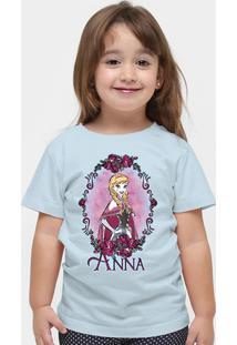 Camiseta Frozen Anna - Feminino-Azul