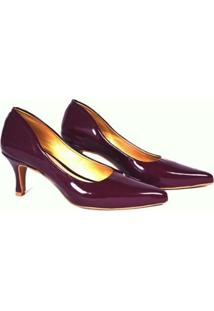 Scarpin Caminar Shoes Verniz Baixo Clássico Feminino - Feminino-Bordô