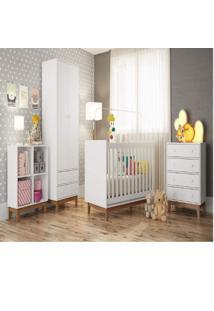 Quarto Para Bebê Com Guarda Roupa Berço Cômoda E Estante Retrô Siena Móveis Branco