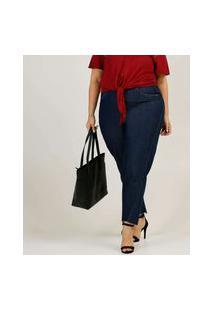 Calça Plus Size Feminina Mom Jeans Cintura Alta