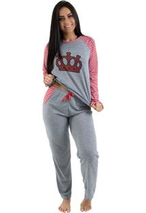 Pijama Linha Noite Longo Mescla Com Vermelho