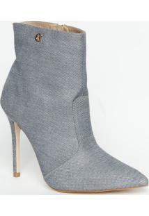 Ankle Boot Texturizada- Cinza Claro & Cinza Escuro- Carmen Steffens