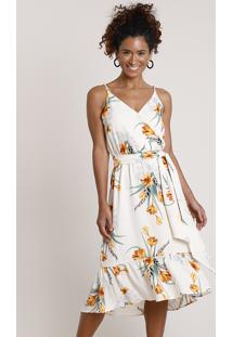 Vestido Feminino Midi Estampado Floral Com Transpasse E Faixa Para Amarrar Alça Fina Bege Claro