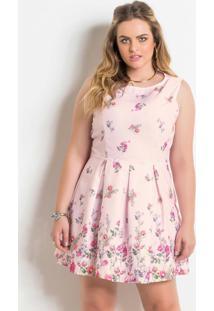 1a2a11481368 ... Vestido Sem Mangas Floral Rosa Plus Size