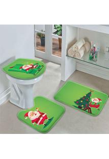 Jogo Tapetes Para Banheiro Cute Noel Green