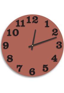 Relógio De Parede Premium Cobre Metálico Com Números Em Relevo Preto Ônix 50Cm Grande