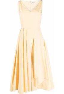 Alexander Mcqueen Vestido Evasê Drapeado - Amarelo