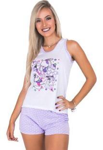 Pijama Mvb Modas Curto Bolinha Feminino - Feminino-Lilás