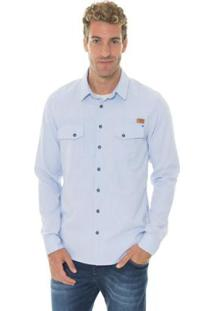 Camisa Timberland Cargo Cotton Chevron Masculina - Masculino-Azul Claro