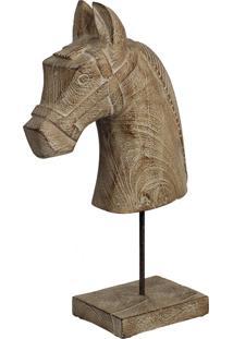 Estatua Cavalo- Pashmina- Madeira- Marrom - Kanui