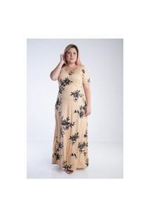 Vestido Plus Size Mirasul Longo Floral Fenda Bege