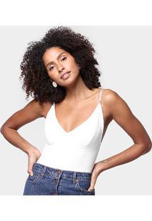 Body Farm Rib Alcinhas Canelado - Feminino-Off White