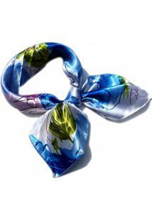 Lenço De Seda Estampa Luxo Echarpe. Xale, Azul