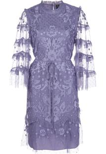 Needle & Thread Vestido Com Bordado Floral - Roxo