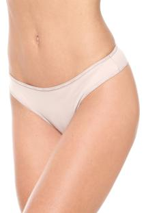 Calcinha Calvin Klein Underwear Tanga Logo Bege