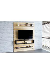 Rack Suspenso Standby - Painel De Madeira Para Tv Até 60 Polegadas Natural E Preto - 135X23X172 Cm