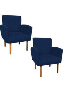 Kit 02 Poltronas Decorativa Veronês Para Sala E Recepção Suede Azul Marinho - D'Rossi