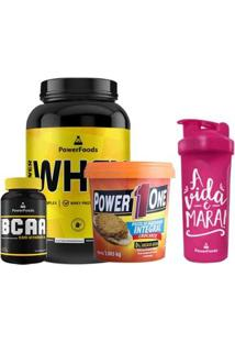 Kit Power Whey Pote 900Gr + Powerbcaa 120 Cáps + Pasta De Amendoim Crocante + Coqueteleira 700Ml - Unissex