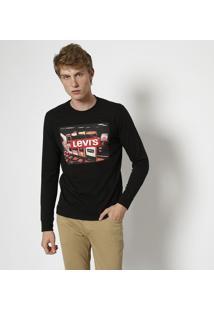 """Camiseta """"Levi'Sâ®"""" Com Manga Longa - Preta & Vermelhalevis"""