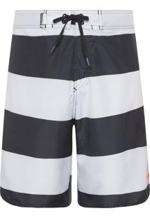 Bermuda Masculina Surf Bold - Cinza E Branco