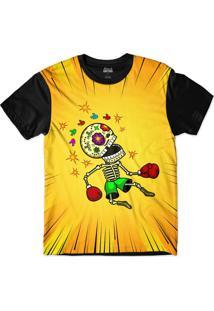 Camiseta Attack Life Caveira Nocauteada Sublimada Preta Laranja