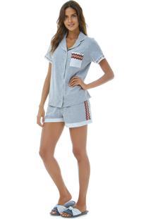 4a23cf8ce Pijama Aberto Manga Curta feminino
