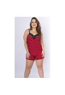 Baby Doll Plus Size Serra E Mar Modas Liganete Estampado Com Renda Vermelho