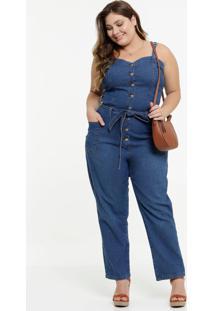 Macacão Plus Size Feminino Jeans Amarração Alças Finas