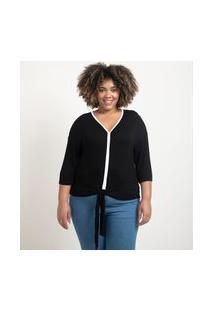 Blusa Em Viscolycra Com Viés Contrastante Curve & Plus Size Preto