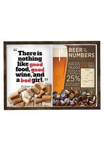 Quadro Caixa Porta Rolha Vinho E Tampinha Cerveja (2 Em 1) 33X43 Cm Nerderia E Lojaria Bab Girl E Beer Numbers Madeira