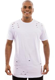 Camiseta Manga Curta Valks Longline Ripped Branco
