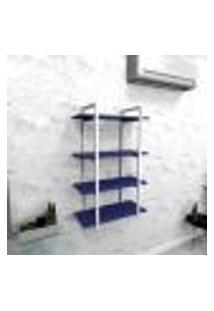 Estante Industrial Escritório Aço Cor Branco 60X30X98Cm (C)X(L)X(A) Cor Mdf Azul Modelo Ind41Azes