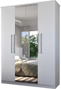 Guarda-Roupa Casal 4 Portas C/ 2 Espelhos 100% Mdf Branco Foscarini