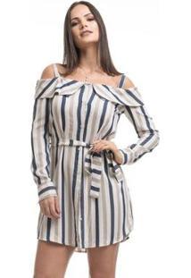Vestido Clara Arruda Ombro Detalhe Feminino - Feminino-Listrado
