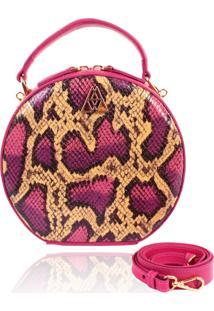 Bolsa Redonda Campezzo Snake Pink Verniz
