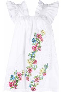 Vivetta Vestido Godê Com Bordado Floral - Branco