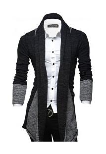 Cardigan Masculino Elegante Assimétrico Lapela - Cinza Escuro