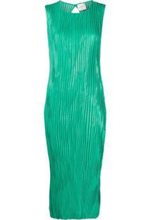 Alysi Vestido Midi Com Pregas - Verde