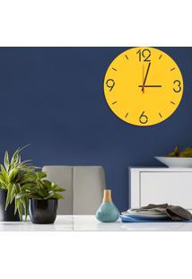 Relógio De Parede Decorativo Premium Números Vazados Amarelo Médio