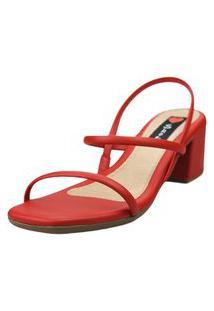 Sandália Salto Bloco Love Shoes Baixo Tiras Básicas Delicadas Vermelho