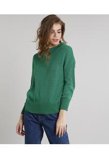 Suéter Feminino Mindset Em Tricô Com Lurex Verde