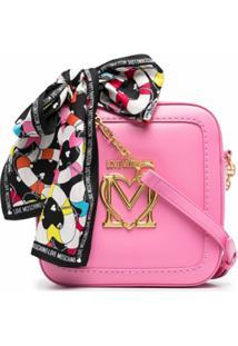 Love Moschino Bolsa Transversal Com Placa De Logo - Rosa