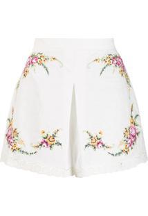 Zimmermann Short Com Estampa Floral - Branco