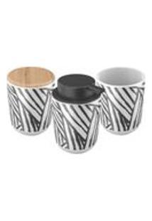 Kit Banheiro Em Ceramica Safari 3 Pecas 3 Pecas Artex - 3 Pecas - Branco / Preto