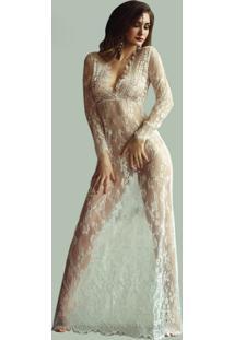 Vestido Longo De Renda Transparente