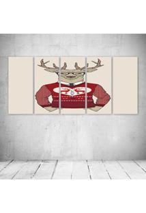 Quadro Decorativo - Deer Hipster Red - Composto De 5 Quadros - Multicolorido - Dafiti